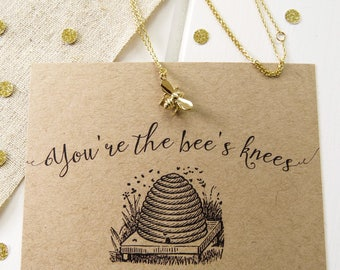 Gold Bee Necklace - Your the Bee's Knees Necklace - Gift for Friend - Bumblebee Jewellery - Dainty Bee Necklace - Gift for Her