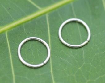 Nose Rings - Nose Hoops - Tragus Earrings - Cartilage Earrings - Nose Piercing- 1 PAIR  Sterling Silver 24 Gauge 7-10mm Inner Diameter Hoops