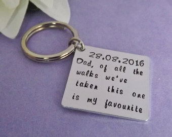 Father of the Bride Gift - Personalized Dad Keyring - Handstamped Wedding Favor - Thank You Gift - Wedding Keychain - Wedding Party Gift -