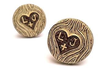 Personalized Cufflinks, Carved Initials Cufflinks, Wood Grain Cuff links, Woodland Wedding Cufflinks, Groom Gift, 5 Year  Anniversary Gift