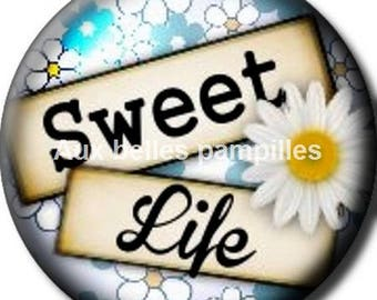 Round cabochon resin 25 mm - sweet life stick (1294) - text, Word, Daisy