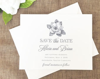 Magnolia Save the Date, Magnolia Flower Wedding Save the Date, Classic Save the Date, Save the Date, Save the Date Cards