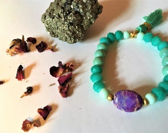 Healing Calm Meditation Yoga Bracelet with Agate