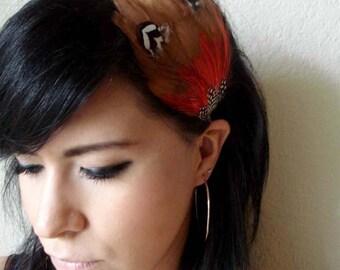 brown and orange feather headband or hair clip - bohemian feather fascinator - feather hair piece - women's boho hair accessory - SAVANNA