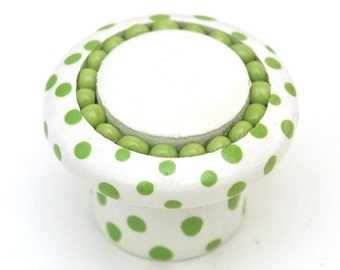 Green Polka Dot Knob