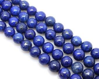 15.5Inch 3 Full Strand Lapis Lazuli Round Bead, 6mm 8mm 10mm 12mm Size