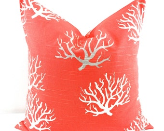 Pillow. Salmon Coral pillow cover.  Coral Pillow case. Cm. Sham cover. Cushion cover. Select your size.