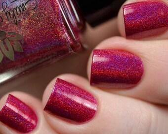 "Nail polish - ""Revival"" Red linear holographic polish"