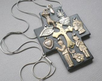 Milagro Leather BLESSING Cross. Gypsy Ex Voto Necklace GIFT.  Mexican  Folk Art. Wedding Bridal Gift. Birthday. Biker. Peru Mexico