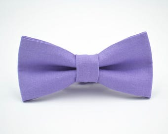 Mens Bowtie in Lavender Linen, Mens Purple Bow Tie, Lavender Bow tie, Groomsmen Bow Ties, Wedding Bow Tie