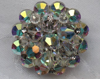 Vintage Brooch with Faceted Crystal Clear Aurora Borealis Cluster with Crystal Rhinestone Accents