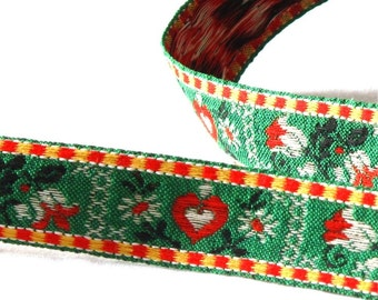 Green & Red Checked Heart Floral Woven Vintage Jacquard Ribbon Trim - 3 yards - Sewing Supply, Decorative Ribbon, Tape, Tyrolean Folkloric