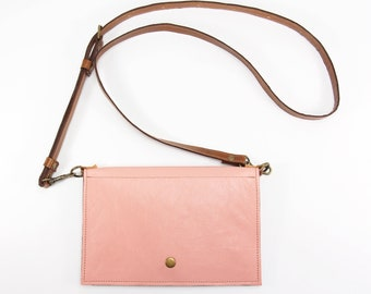 Blush Pink Leather Crossbody Purse