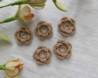 Hand Crocheted Little Cappuccino Rosettes - Set Of 5