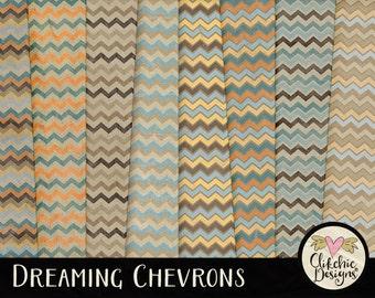 Chevron Digital Paper Pack - Shabby Dreaming Chevron Digital Scrapbook Paper - Chic Grunge Chevron Paper Pack