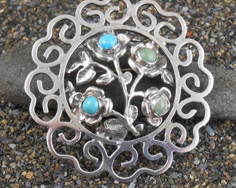 Turquoise Flower Pin ~ Vintage Mexico ~ Brooch Two Shades Turquoise circa 1960s-70s