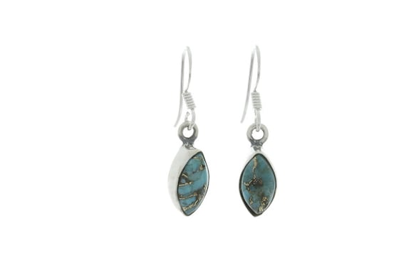 Copper Turquoise Earrings, Sterling Silver Turquoise Earrings
