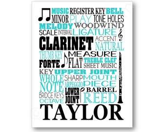 Clarinet Poster Typography, Clarinetist Canvas, Clarinet Player Gift, Personalized Clarinet Art, Clarinet Gift, Custom Clarinet Player Gift