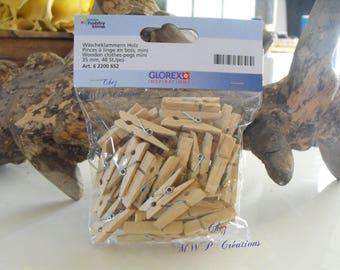 Set of 48 mini clothespins - 35mm-wooden