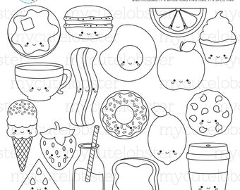 Cute Foods Digital Stamps - outline, line art, stamps, happy foods, ice cream, apple - personal use, small commercial use, instant download