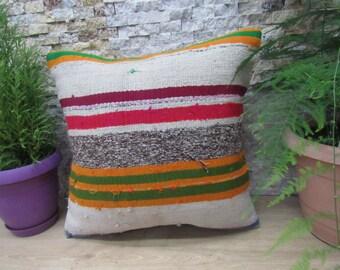 Turkish Vintage Kilim Pillow 18x18 Ottoman Pillow Handmade Kilim Cushion Rustic Pillow Aztec Pillow Home Decor Pillows Bedding Pillow