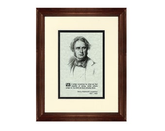Print and Quotation of Henry Wadsworth Longfellow with Mat and Frame