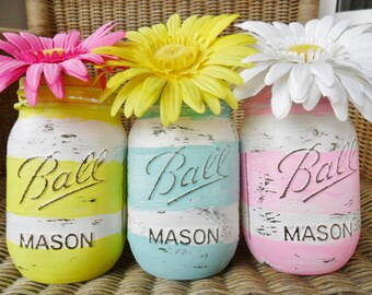 Hand Painted Mason Jars Wedding Decor / Baby Shower Decor Spring / Summer Set of 3 LOT Striped Blue / Green GREENERY / Pink Shabby Chic