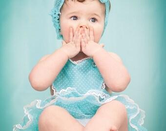 Sheer Swiss Dot Vintage Style Baby Dolly Valentine Heart Sun Suit Romper Aqua Blue