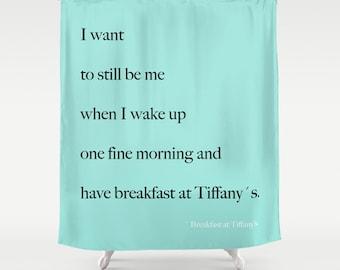 Breakfast At Tiffanys, Aqua Shower Curtain, Girls Bathroom Decor, Breakfast At Tiffanys Decor, Fabric Shower Curtain, Standard or Extra Long