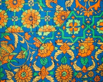Teal wool Kimono fabric with Japanese motif, Sold per 1/2 meter.