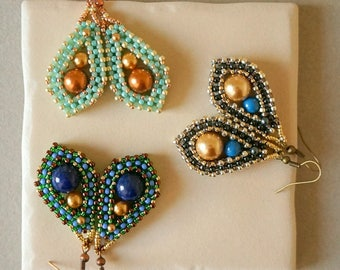 Solace Earrings Pattern / Cubic right angle weave earrings tutorial / Beading PDF instructions only / CRAW Earrings Pattern