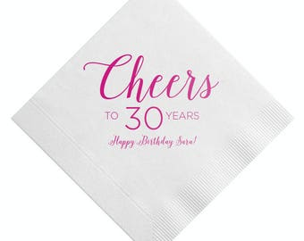100 Personalized Napkins Beverage & Luncheon Size Available! Custom Monogram 30th Birthday Dirty 30 Personalized Birthday Party Napkins 30th