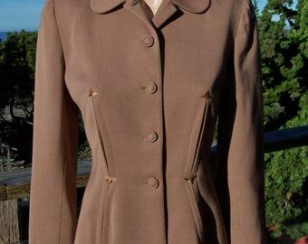 40s, Jacket, Brown, blazer, tailored, nip waist, Fit and flare, custom, coat, M