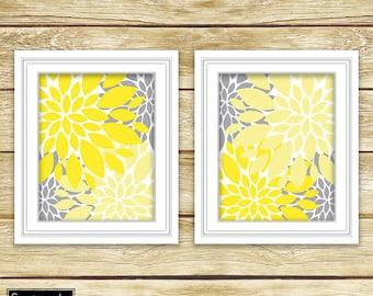 Yellow Grey Floral Flower Burst Wall Art Gray Bathroom Bedroom Nursery Decor Printable Set of 2-11x14 Digital JPG Instant Download (2-2)