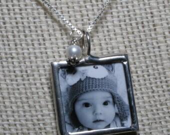 Mommy birthstone photo necklace, New Mom Necklace, Custom Photo Necklace, Soldered Glass Photo Charm