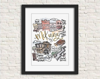McKinney, Texas Handlettered Watercolor Illustration Gift Wall Art Print // 8x10