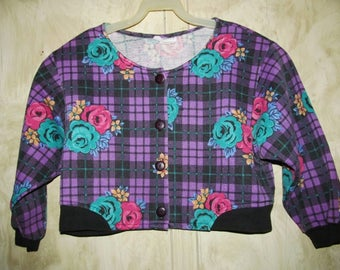 80s/Rose/CHECKERED/Floral/CROP/TOP/ Purple/Black/Turquoise/Pink/Yellow/ Vintage/Multicolor/Flower/Retro/Jacket/ Woman/Fashion/Clothing/(M)