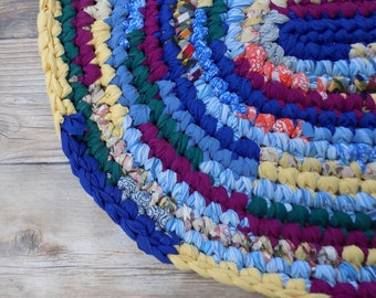 Colorful Oval Rag Rug - Rug for Children's Bedroom - Living Room Decor - Boho Hippie Gypsy Style - Repurposed Unique Handmade - Crochet