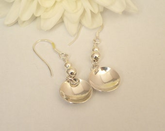 Sterling silver domed earrings with sterling silver beads