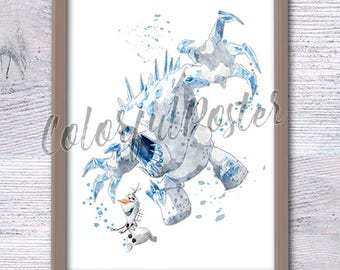 Disney Frozen Marshmallow and Olaf print Disney watercolor poster Frozen Kingdom decor Kids room wall art Nursery room decor Gift idea V144