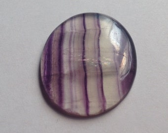 Striped Purple and Clear Quartz Fluorite Oval Cabochon - 1 Piece - 38mm x 29mm