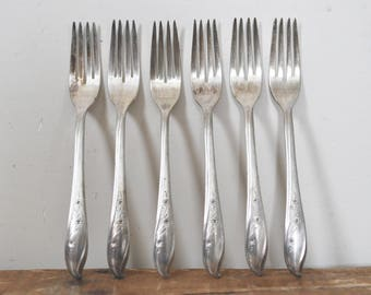 Vintage Silver Plate Fork Lot of 6 1847 Rogers Bros IS Springtime Dinner Forks Replacement Set Silverware