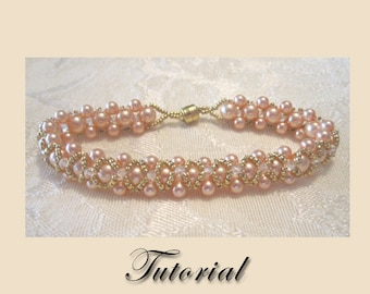 PDF for Peach Elegance Right Angle Weave beadwoven bracelet beading pattern tutorial - beadweaving beaded seed bead jewelry