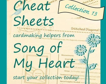 Cheat Sheets #13 Collection: Instant Digital Download cardmaking tutorials, sketches, rubber stamping, complete instructions & measurements