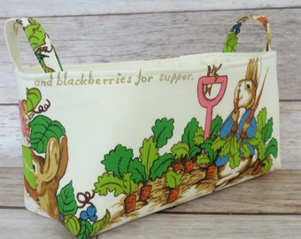 Long Diaper Caddy - Storage Container Basket Fabric Organizer Bin - Peter Rabbit Fabric - Vintage Beatrix Potter Fabric