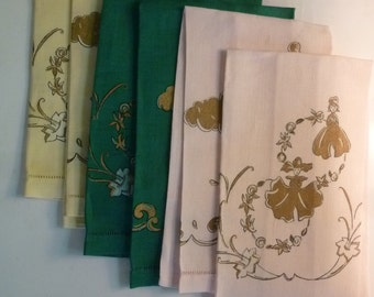 Towels Set of 6 Hollywood Regency Style Linen Hand Towels Cherubs and Garden Nymphs 1960's