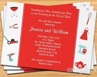 Couple Wedding Shower Invitation His and Hers Gifts