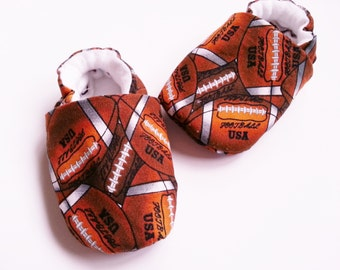 Football Baby Boy Shoes, Baby Boy Soft Sole Booties, Brown and White Football Clothing, Baby Sport Shoes, Baby Shower Gift, Newborn Boy Gift