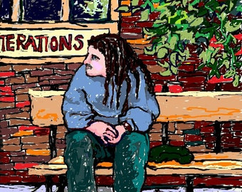 PRINT of Original Digital Painting,Man on a City Bench,Giclee Print,Canvas Print,Wall Art,Room Decor,Colorful,Pop,Graphic Art,City Scene