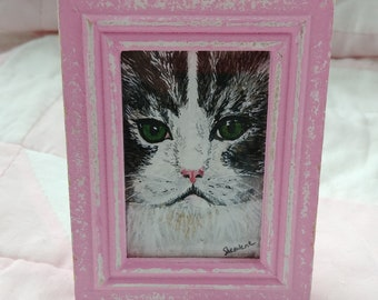 ACEO Watercolor Painting of Kitten in Shabby Frame